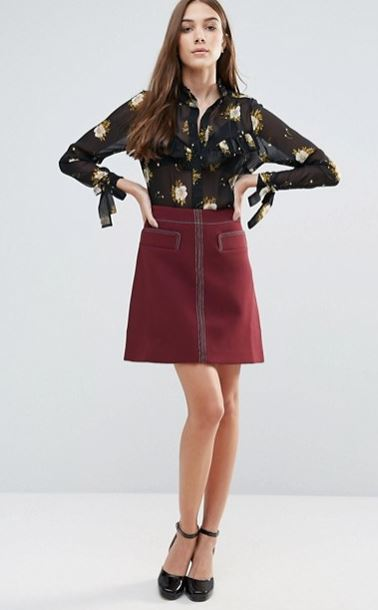 wear floral blouses with leather skirt for winter 2017
