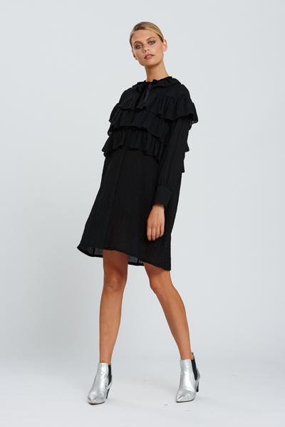 bohemian traders black shirt dress with ruffles