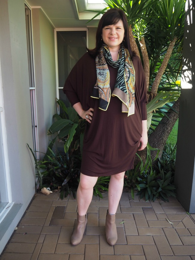 chocolate miracle dress with scarf