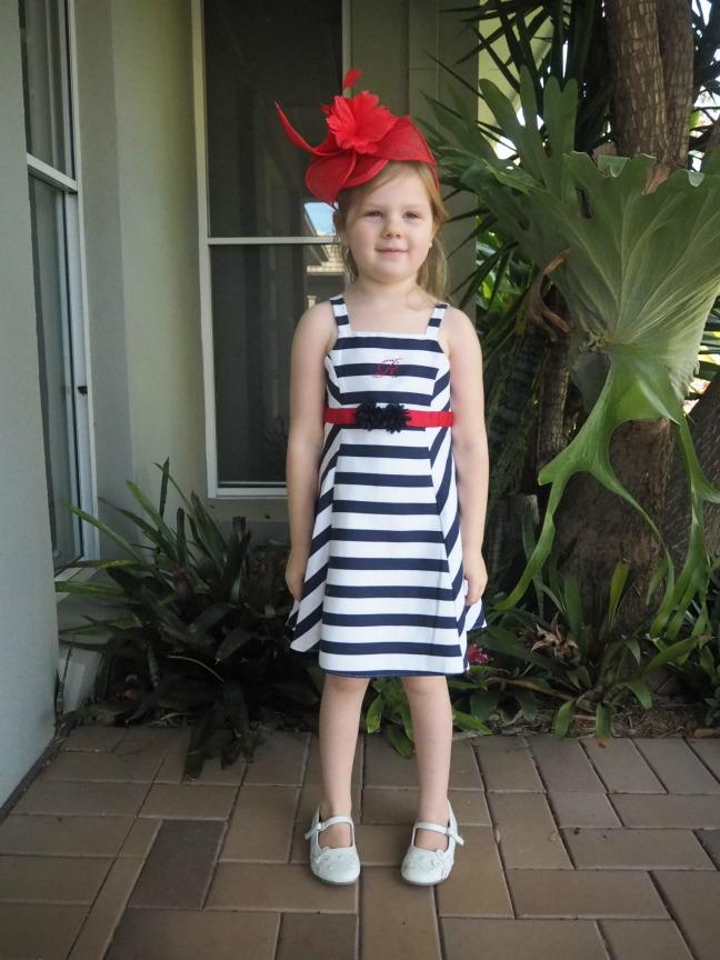 Mini Raxevsky navy stripe dress