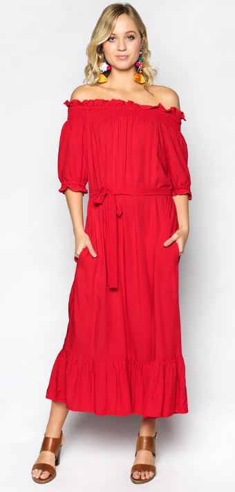 adrift red tie-up dress