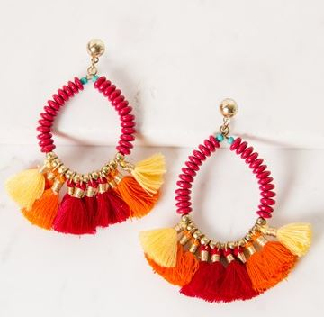 adorne beaded tassel earrings