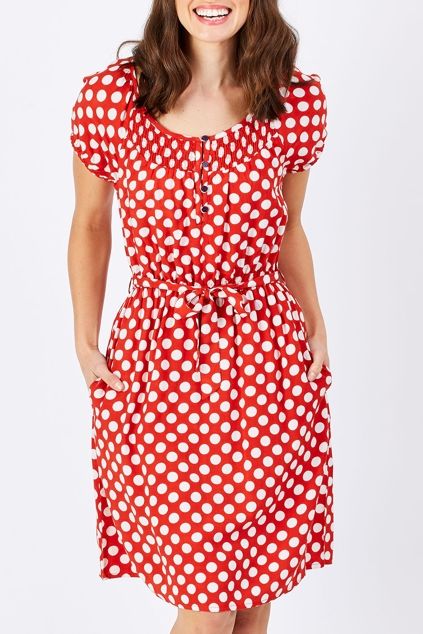 handpicked by birds red polka dot dress
