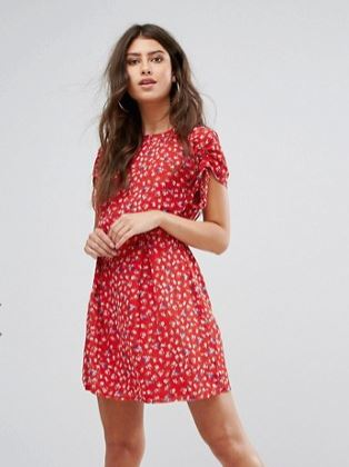 red pretty floral tea dress
