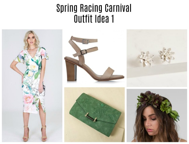 floral spring racing carnival outfit idea 1