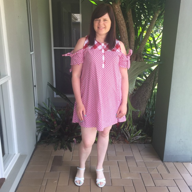 Bec in red gingham dress