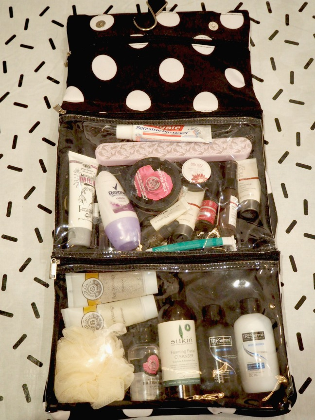 stocked toiletry bag styled by bec