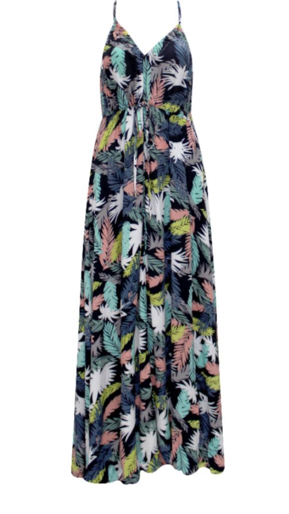 Palm Tree Print Boho Dress