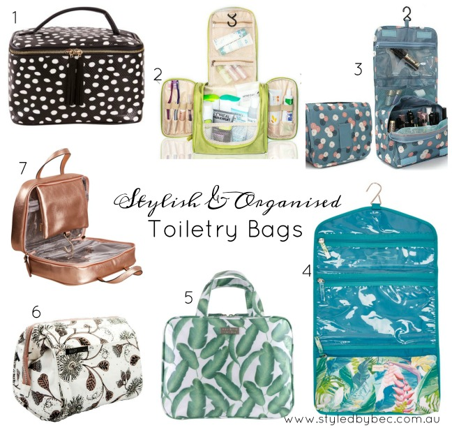 stylish and organised toiletry bags