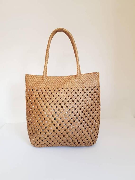 natural straw tote basket