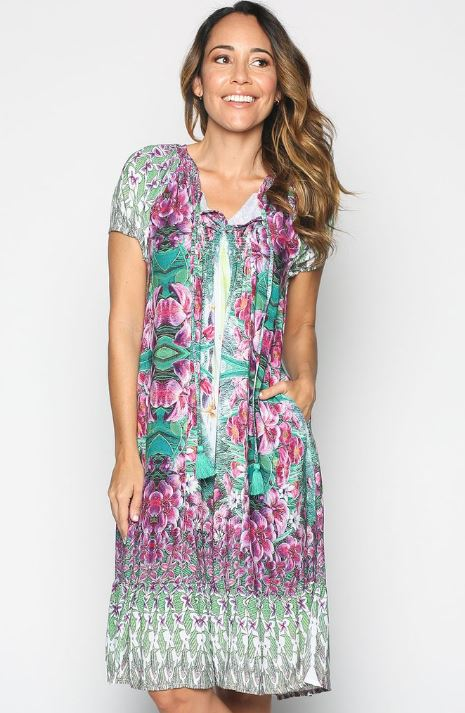 adrift short sleeve dress with pockets